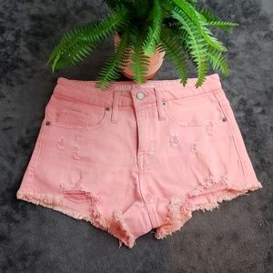 Mossimo Pink Distressed High Rise Shorts